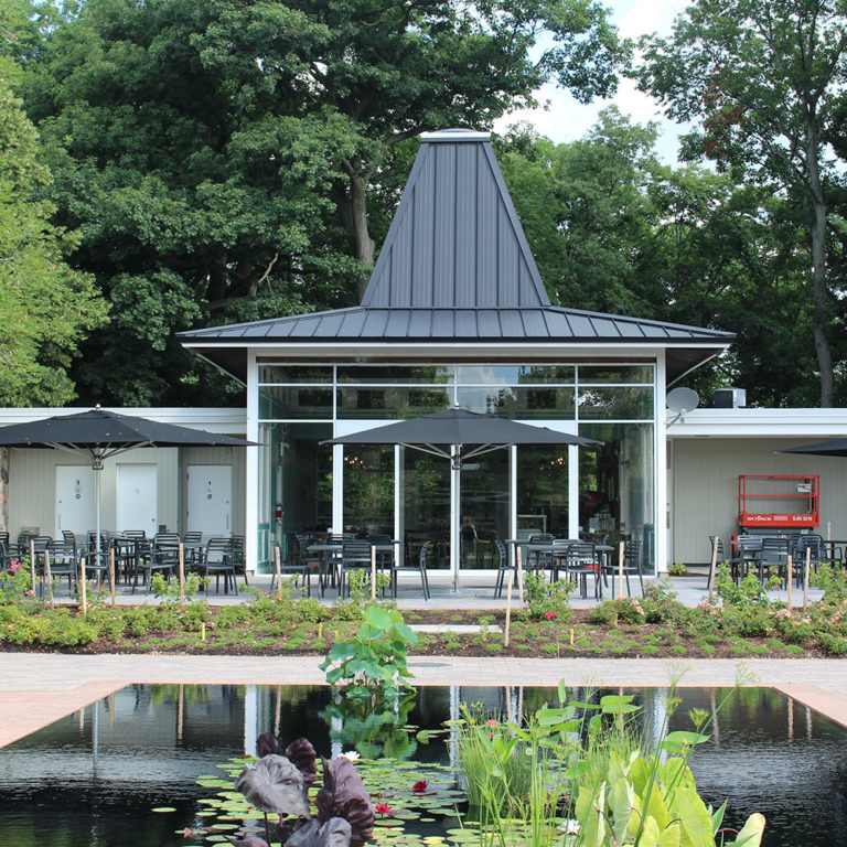 Turner Pavilion Teahouse Exterior with Reflecting Ponds