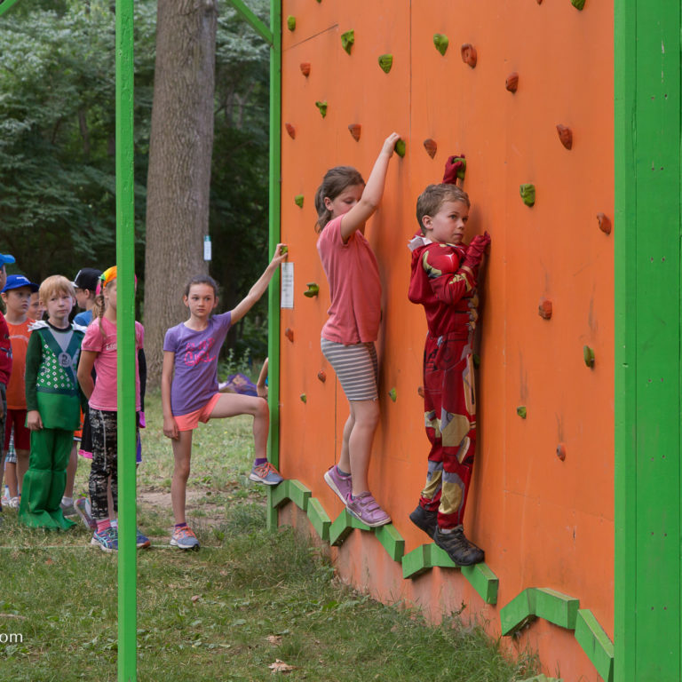Children on Low Ropes Climbing Wall