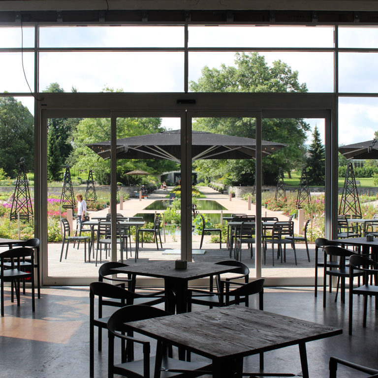 Interior of Teahouse Looking Out to Rose Garden in June