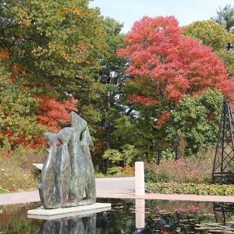 School Of Fish Sculpture In Fall