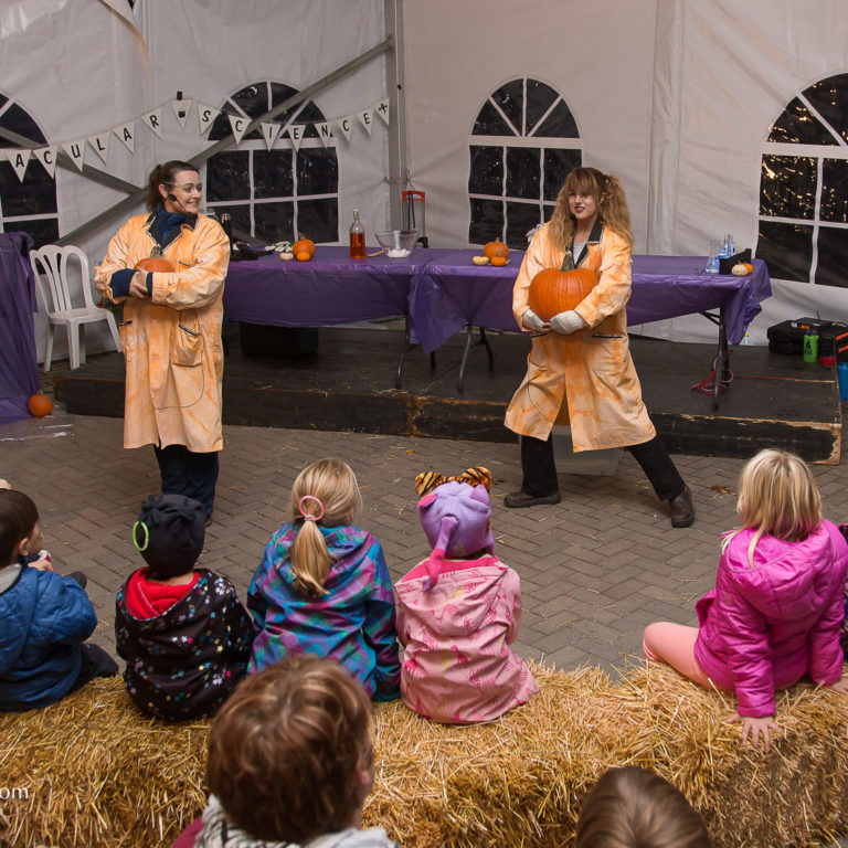 Staff Performing Science Show For Crowd