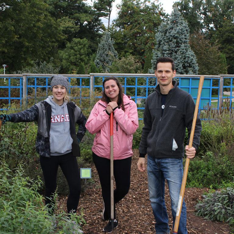 Volunteers With Gardening Tools In Veggie Village