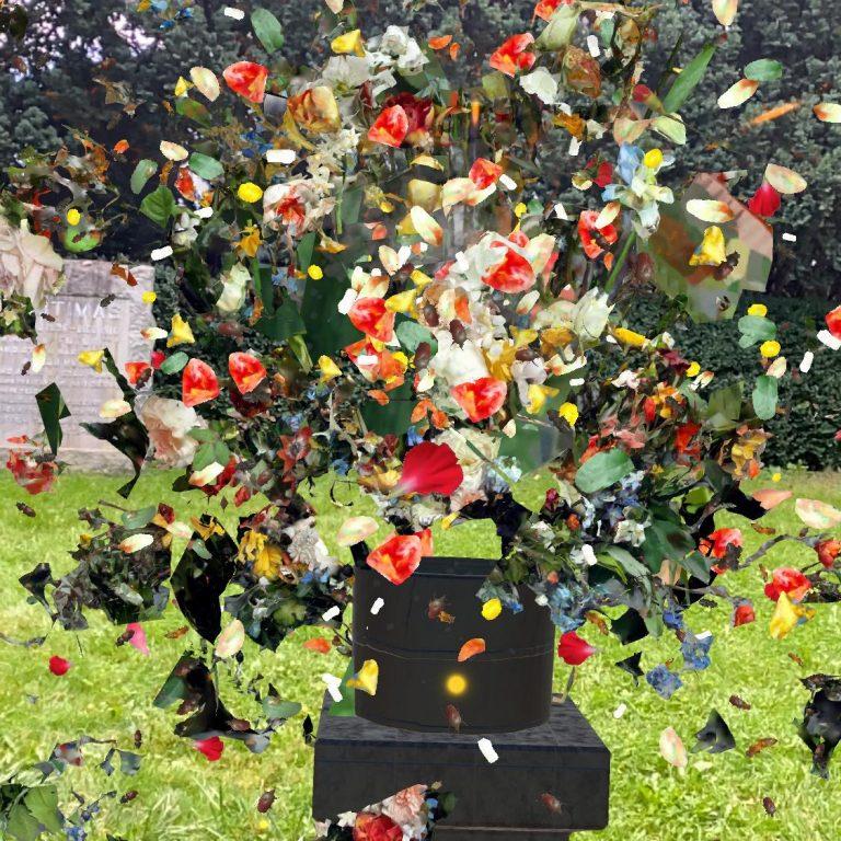 augmented reality flower vase exploding