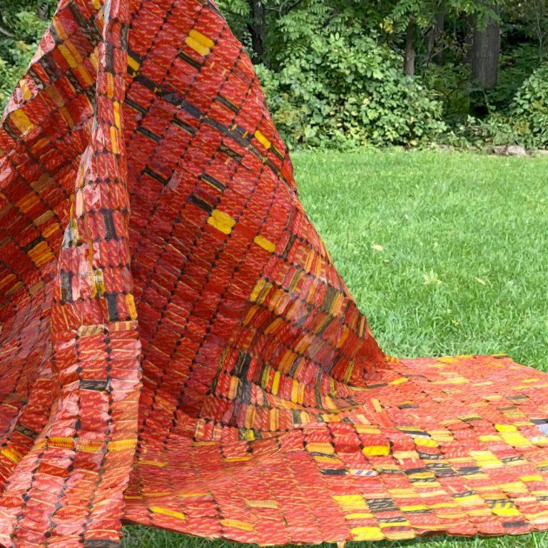 orange augmented reality textile mountain
