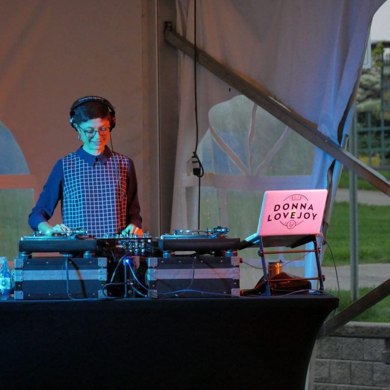 DJ Donna Lovejoy in the Rose Garden Tent