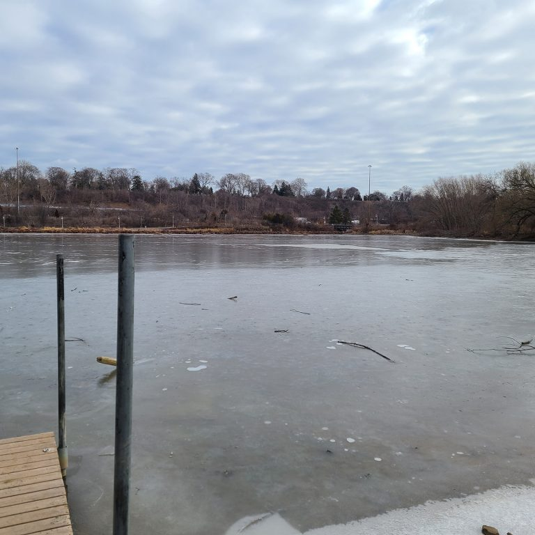 Dock at Princess Point with barely frozen ice, unsafe for skating