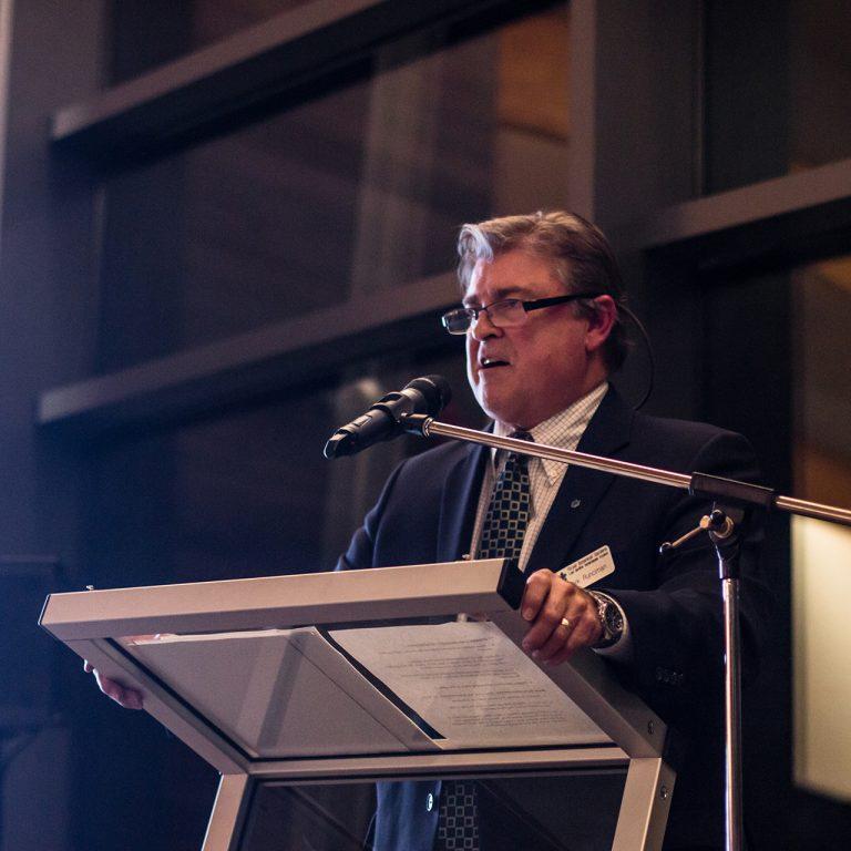 2015: Mark speaking at the Rock Garden Recognition Dinner