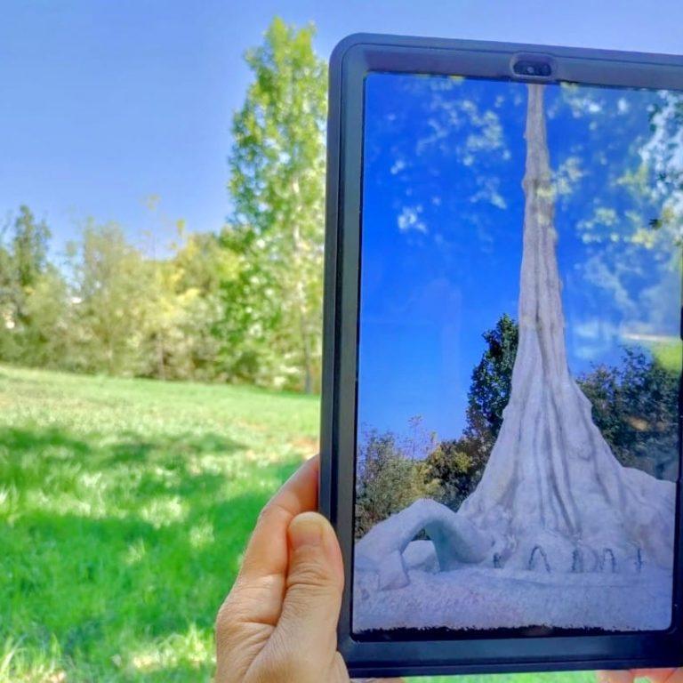 tablet displaying sigalit landau's artwork
