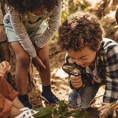 Group of young children examining natural materials outdoors