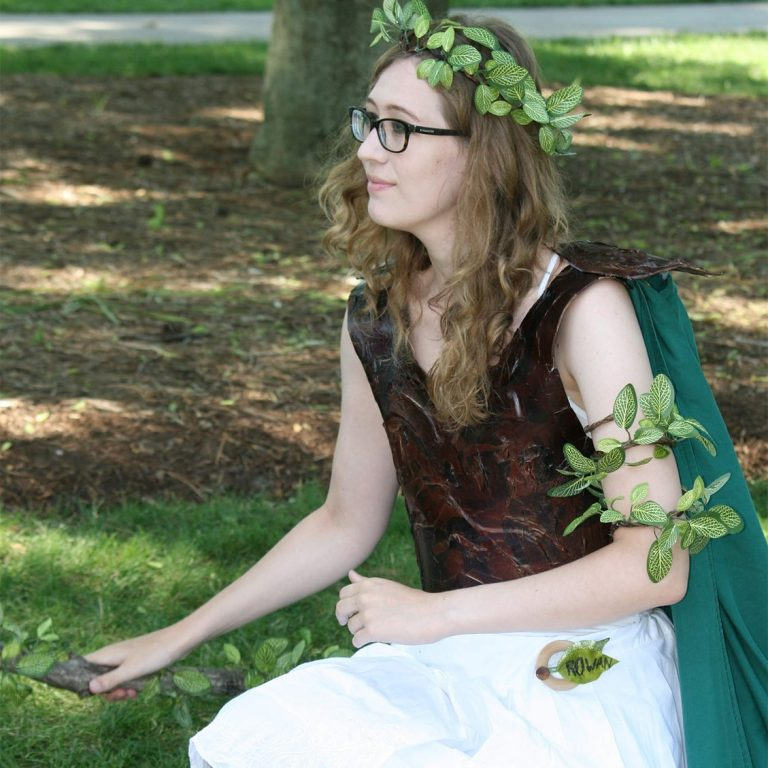 Woman dressed as woodland fairy