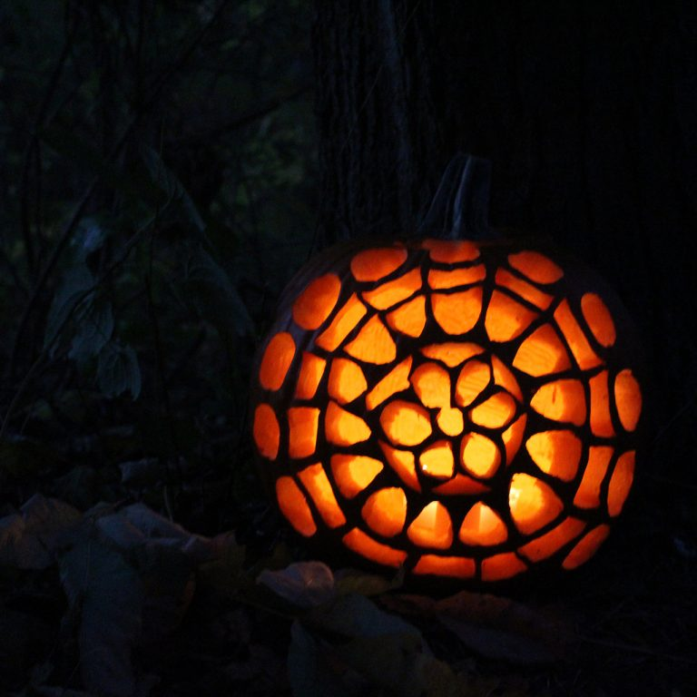 mandala carved into jack-o-lantern