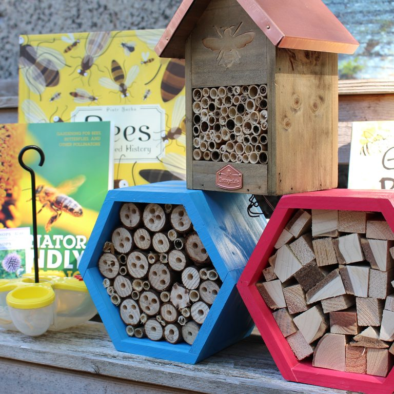 Selection of pollinator houses and related books from the shop
