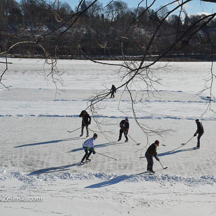 group skating and playing hockey at princess point - markzelinski.com