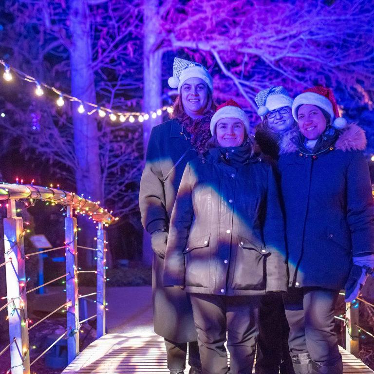 Winter Lights At The Rock Women On Lit Bridge