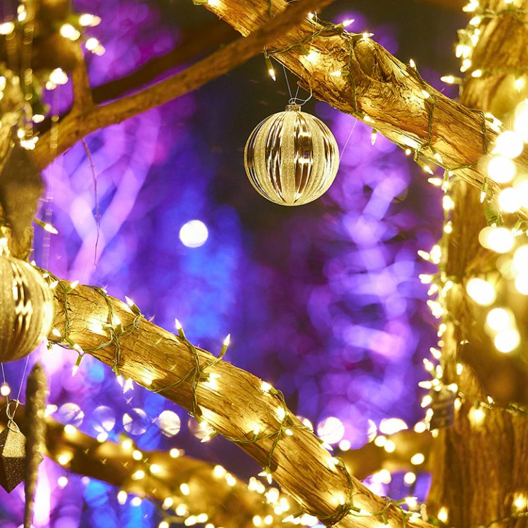 Ornaments hang from a tree wrapped in lights at winter Wonders